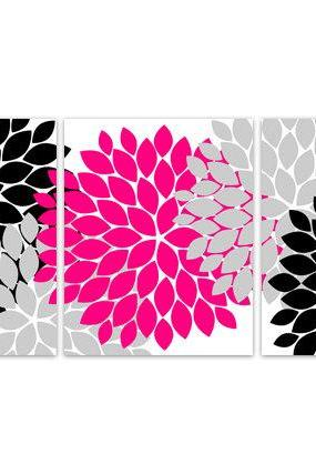 DIGITAL DOWNLOAD - Home Decor Wall Art, INSTANT DOWNLOAD Pink and Black Flower Burst Art, Bathroom Wall Decor, Pink Bedroom Decor - HOME104