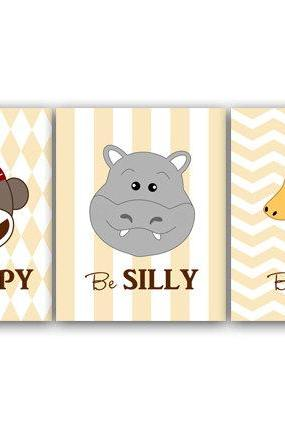 DIGITAL DOWNLOAD - Nursery Wall Art, INSTANT DOWNLOAD Jungle Nursery Print, Safari Nursery, Hippo Art, Giraffe Nursery Decor, Monkey Nursery Art - ANI16