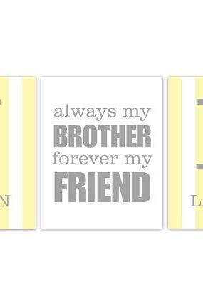 DIGITAL DOWNLOAD - Brothers Wall Art, Personalized Kids Name Art, DIGITAL DOWNLOAD Wall Art, Brother Quote Print, Yellow Grey Nursery - KIDS181