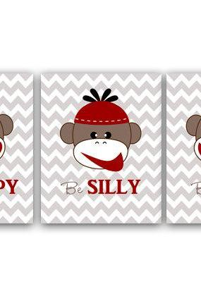 DIGITAL DOWNLOAD - Monkey Art Print for Baby Boy Nursery, Monkey Wall Art for Playroom Decor and Nursery Decor, Instant Download - ANI9