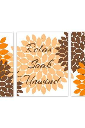 DIGITAL DOWNLOAD - Orange and Brown Bathroom Decor, Relax Soak Unwind, Instant Download Bathroom Wall Art, Printable Modern Bathroom Decor - BATH91