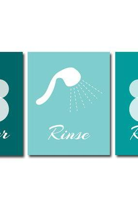 DIGITAL DOWNLOAD - Bathroom Art, Lather-Rinse-Repeat, Set of 3 Bath Art Prints, Printable Modern Bathroom Decor, Teal & Aqua Bathroom Decor - BATH1