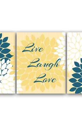 DIGITAL DOWNLOAD - Bedroom Wall Art, Live Laugh Love, Instant Download Bath Art, Printable Modern Bedroom Wall Decor, Yellow and Blue Bedroom Decor - HOME30