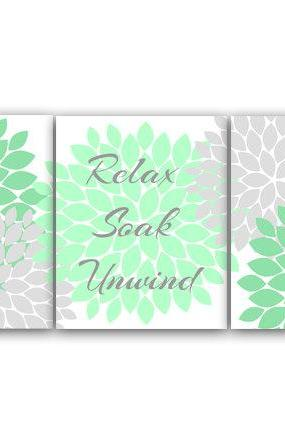 DIGITAL DOWNLOAD - Relax Soak Unwind, Bathroom Wall Art, Instant Download Bath Art, Printable Modern Bathroom Decor, Green and Gray Bathroom Decor - BATH19