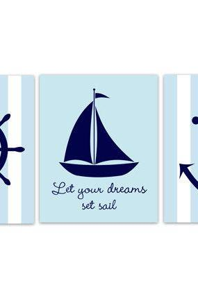 DIGITAL DOWNLOAD - Nautical Nursery Wall Art, Sailboat Nursery Decor, INSTANT DOWNLOAD Nursery Quote Art, Let Your Dreams Set Sail, Sailboat Art - KIDS178