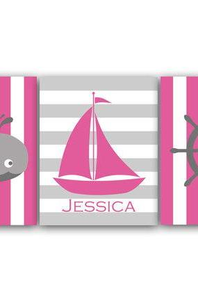 DIGITAL DOWNLOAD - Pink Nautical Nursery Wall Art DIGITAL DOWNLOAD Nautical Art Print Whale Nursery Kids Name Art Girl Room Decor - KIDS112