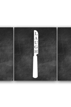 DIGITAL DOWNLOAD - Kitchen Art, INSTANT DOWNLOAD, Live Laugh Love, Fork and Spoon Wall Decor, Chalkboard Kitchen Wall Art, Home Decor - HOME57