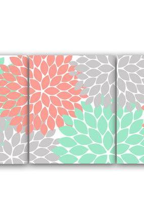 DIGITAL DOWNLOAD - Home Decor Wall Art, INSTANT DOWNLOAD Coral and Mint Flower Burst Art, Bathroom Wall Decor, Coral Bedroom Decor, Nursery Wall Art - HOME81