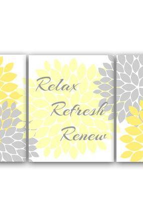 DIGITAL DOWNLOAD - Bathroom Wall Art, Relax Refresh Renew, INSTANT DOWNLOAD Bath Art, Printable Modern Bathroom Decor, Yellow and Gray Bathroom Decor - BATH18