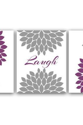 DIGITAL DOWNLOAD - Home Wall Art, Printable Bathroom Art, Live Laugh Love, Purple and Gray Nursery Decor, Flower Burst Artwork, Instant Download - HOME22