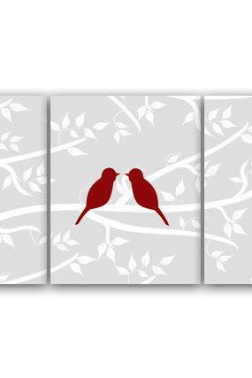 DIGITAL DOWNLOAD - Bedroom Decor Home Decor Art INSTANT DOWNLOAD Love Bird Art Grey and White Bathroom Wall Art Set of 3 Art Print - HOME74
