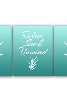 DIGITAL DOWNLOAD - Relax Soak Unwind, Bathroom Wall Art, INSTANT DOWNLOAD Bath Art, Printable Modern Bathroom Decor, Aqua Bathroom Decor - BATH36