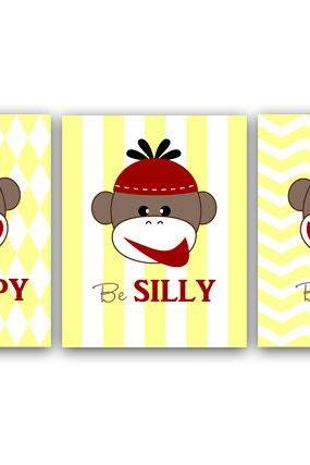 DIGITAL DOWNLOAD - Printable Nursery Wall Art, Yellow Nursery Decor, Kids Wall Art, Boys Room Decor, Playroom Wall Art, Monkey Wall Art - ANI13