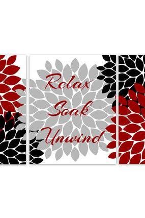 DIGITAL DOWNLOAD - Relax Soak Unwind, Bathroom Wall Art, INSTANT DOWNLOAD Bath Art, Modern Bathroom Decor, Red Grey Black Bathroom Decor - BATH61