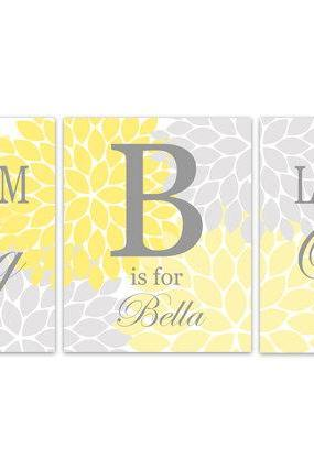 DIGITAL DOWNLOAD - Nursery Quote Art, INSTANT DOWNLOAD Custom Nursery Wall Decor, Dream Big Little One, Yellow Grey Nursery Decor, Girls Room Art - KIDS163