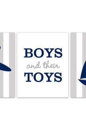 DIGITAL DOWNLOAD - Playroom Wall Art, Airplane Nursery Decor, INSTANT DOWNLOAD Nursery Quote Art, Boys and Their Toys, Sailboat Art - KIDS171
