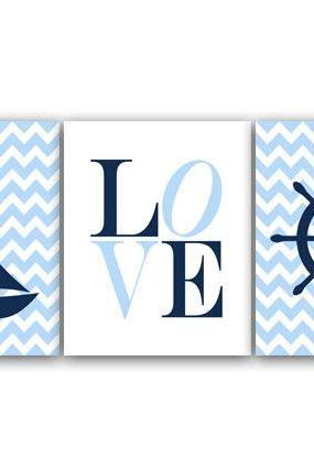 DIGITAL DOWNLOAD - Nursery Wall Art, Instant DOWNLOAD Nautical Nursery Decor, Blue Baby Boy Nursery Decor LOVE Nursery Print, Boy Room Decor - KIDS129