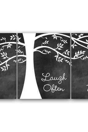 DIGITAL DOWNLOAD - Home Decor Art, INSTANT DOWNLOAD, Live Well Laugh Often Love Much, Family Tree Wall Decor, Chalkboard Wall Art - HOME64