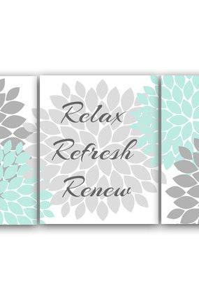 DIGITAL DOWNLOAD - Relax Refresh Renew, Bathroom Wall Art, INSTANT DOWNLOAD Bath Art, Printable Modern Bathroom Decor, Aqua and Gray Bathroom Decor - BATH26