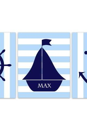 DIGITAL DOWNLOAD - Sailboat Nursery Decor, Nautical Nursery Wall Art, DIGITAL DOWNLOAD Nursery Art, Personalized Nursery Art, Sailboat Art - KIDS165