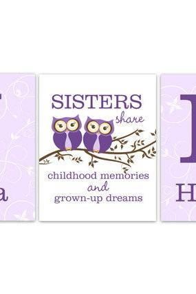 DIGITAL DOWNLOAD - Nursery Wall Art, Twins Art, Sisters Wall Art, Sister Quote, DIGITAL DOWNLOAD Girls Monogram Art, Girls Room Decor - KIDS149