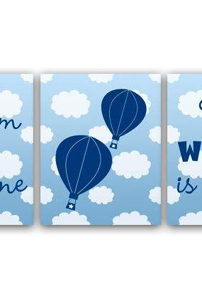 DIGITAL DOWNLOAD - Dream Big Little One The World Is Yours, Blue Nursery Decor, Hot Air Balloon Nursery, Instant Download Nursery Wall Art, KIDS26