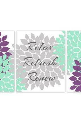 DIGITAL DOWNLOAD - Relax Refresh Renew, Bathroom Wall Art, INSTANT DOWNLOAD Bath Art, Printable Bathroom Decor, Purple and Mint Bathroom Decor - BATH81