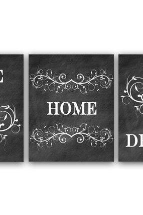 DIGITAL DOWNLOAD - Printable Chalkboard Art, Home Wall Art Set of 3, Love Art Print, Inspirational Quote Print, Family Chalkboard Art, Instant Download HOME5