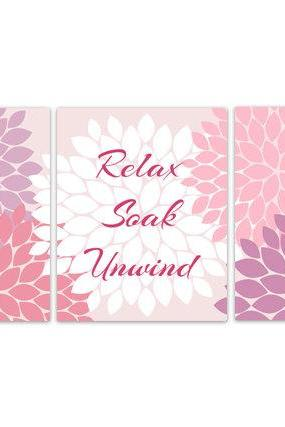 DIGITAL DOWNLOAD - Purple and Pink Bathroom Decor, Bathroom Art, Relax Soak Unwind, Set of 3 Bath Art Prints, INSTANT DOWNLOAD Modern Bathroom Art - BATH84