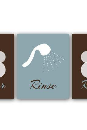 DIGITAL DOWNLOAD - Bathroom Art, Lather-Rinse-Repeat, Set of 3 Bath Art Prints, Printable Modern Bathroom Decor, Brown & Slate Bathroom Decor - BATH3