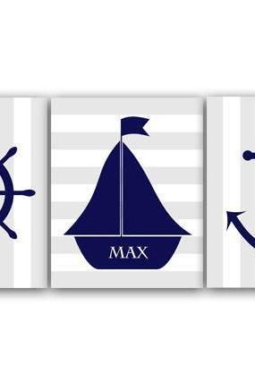 DIGITAL DOWNLOAD - Sailboat Nursery Decor, Nautical Nursery Wall Art, DIGITAL DOWNLOAD Printable Nursery Art, Personalized Nursery Art, Anchor Art - KIDS86