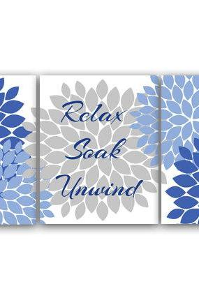 DIGITAL DOWNLOAD - Bathroom Wall Art, Relax Soak Unwind, INSTANT DOWNLOAD Bath Art, Printable Modern Bathroom Decor, Blue and Gray Bathroom Decor - BATH32