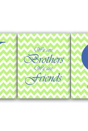 DIGITAL DOWNLOAD - Brothers Wall Art, Brother Quote, Personalized Kids Wall Art, Kids Name Art, Printable Wall Art, Green and Blue Nursery Decor - KIDS39