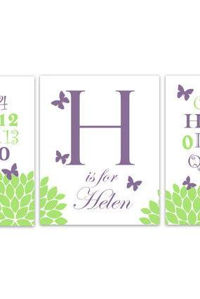 DIGITAL DOWNLOAD - Alphabet Art, Purple and Green Nursery Wall Art, DIGITAL DOWNLOAD Nursery Print, Personalized Kids Wall Art, Modern Nursery Art - KIDS177