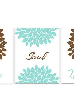 DIGITAL DOWNLOAD - Aqua and Brown Bathroom Decor, Bathroom Art, Relax Soak Unwind, Set of 3 Bath Art Prints, INSTANT DOWNLOAD Modern Bathroom Art - BATH83