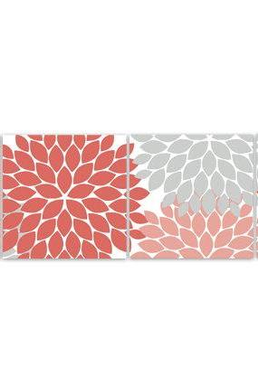 DIGITAL DOWNLOAD - Home Decor Wall Art, INSTANT DOWNLOAD Coral and Grey Flower Burst Art, Bathroom Wall Decor, Coral Bedroom Decor, Nursery Wall Art - HOME89