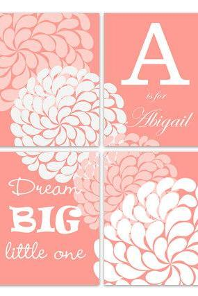 DIGITAL DOWNLOAD - Dream Big Little One, Printable Wall Art, Coral Nursery Wall Art, Personalized Kids Wall Art, Modern Nursery Art - KIDS182