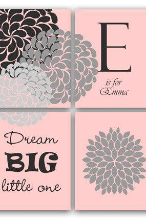 DIGITAL DOWNLOAD - Dream Big Little One, Printable Wall Art, Baby Girls Nursery Wall Art, Pink Flower Burst Artwork, Kids Wall Art, Modern Nursery Art - KIDS20