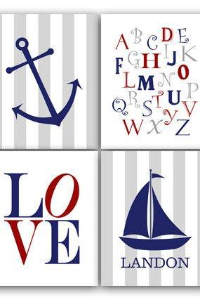 DIGITAL DOWNLOAD - Nautical Nursery Wall Art, Digital DOWNLOAD Sailboat Nursery Decor, LOVE Print, Personalized Nursery Art, Alphabet Art - KIDS130