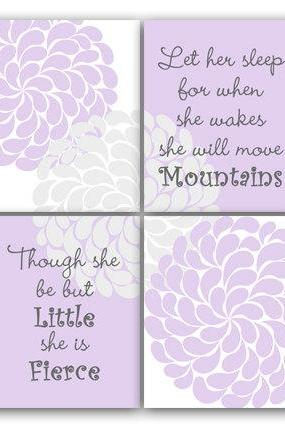 DIGITAL DOWNLOAD - Nursery Wall Art, INSTANT DOWNLOAD, Nursery Quote Print, Let Her Sleep, She Will Move Mountains, She Is Fierce, Nursery Wall Decor - KIDS85