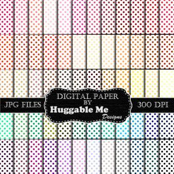 Digital Download, Digital Scrapbook Paper Pack - Polka Dot (60 Colors) - 12
