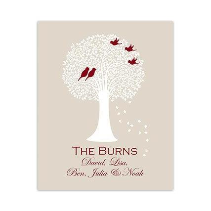 DIGITAL DOWNLOAD - DIGITAL DOWNLOAD, Custom Family Tree Art Print, Beige and Burgundy Tree Silhouette Art, Love Birds Art, Wedding Gift, Home Decor - HOME121