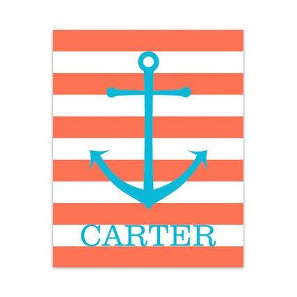 DIGITAL DOWNLOAD - Nautical Nursery Wall Art, Orange and Aqua Nursery, DIGITAL DOWNLOAD Nursery Art, Anchor Nursery Decor, Personalized Nursery Art - KIDS159