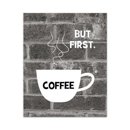 DIGITAL DOWNLOAD - Kitchen Wall Art, But First Coffee, INSTANT DOWNLOAD Brick Art Kitchen Decor, Retro Kitchen Art, Modern Home Decor - HOME86