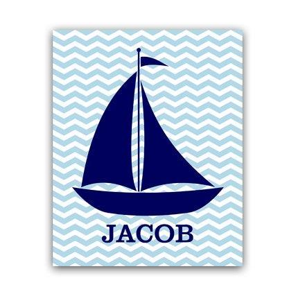 DIGITAL DOWNLOAD - Nautical Nursery Wall Art, DIGITAL DOWNLOAD Printable Nursery Art, Sailboat Nursery Decor, Personalized Nursery Art - KIDS88