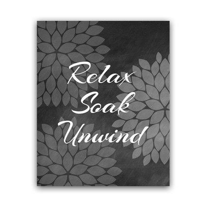 DIGITAL DOWNLOAD - Relax Soak Unwind, Bathroom Wall Art, INSTANT DOWNLOAD Bath Art, Printable Modern Bathroom Decor, Chalkboard Art, Home Decor - BATH40