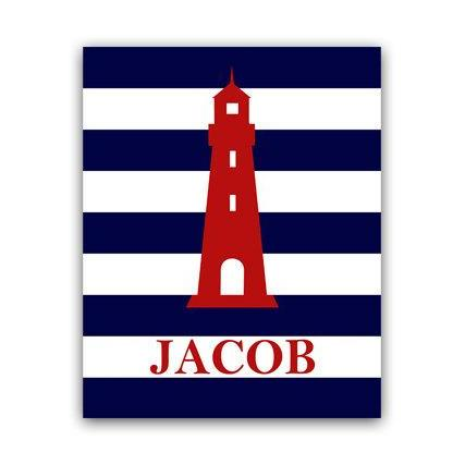 DIGITAL DOWNLOAD - Nautical Nursery Wall Art, DIGITAL DOWNLOAD Nursery Art, Lighthouse Nursery Decor, Personalized Nursery Art - KIDS52