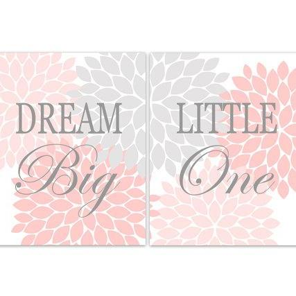 DIGITAL DOWNLOAD - Dream Big Little One, Nursery Quote Art, INSTANT DOWNLOAD Nursery Wall Decor, Pink Grey Nursery Decor, Girls Room Art - KIDS134