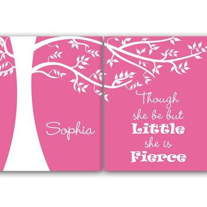DIGITAL DOWNLOAD - Printable Nursery Wall Art, Though She Be But Little She Is Fierce, Personalized Kids Wall Art, Kids Name Art, Pink Nursery Decor - KIDS35