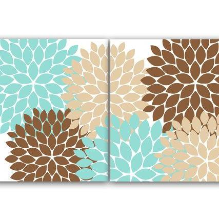 DIGITAL DOWNLOAD - Home Decor Wall Art, INSTANT DOWNLOAD Aqua and Brown Flower Burst Art, Bathroom Wall Decor, Teal Bedroom Decor, Nursery Wall Art - HOME67